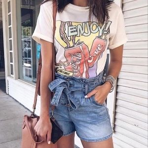American Eagle Paper Bag Denim Mom Shorts